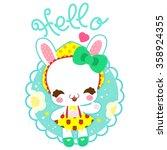 little cute bunny in a skirt... | Shutterstock . vector #358924355