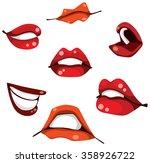 woman lips set. cool lips. red...   Shutterstock .eps vector #358926722