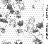 black and white monster... | Shutterstock .eps vector #358955012