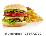 big single cheeseburger with... | Shutterstock . vector #358972712