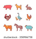 farm animals and pets vector... | Shutterstock .eps vector #358986758