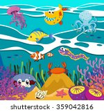fish and sea animals under the... | Shutterstock .eps vector #359042816