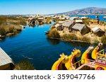 view of uros floating islands... | Shutterstock . vector #359047766