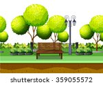 Park With Tree And Seating Are...