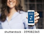 smiling woman showing a mobile... | Shutterstock . vector #359082365
