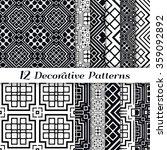 set of 12 black and white... | Shutterstock .eps vector #359092892