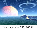 landscape of stranger planet.... | Shutterstock . vector #359114036