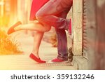Young Couple Kissing Outdoor....