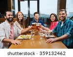 friends dining and drinking... | Shutterstock . vector #359132462