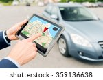 close up of hands with gps on... | Shutterstock . vector #359136638