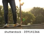 young woman skateboarder with... | Shutterstock . vector #359141366