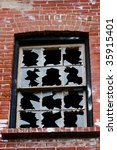 twelve broken window panes | Shutterstock . vector #35915401