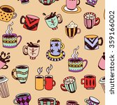 coffee cups  tea cups and mugs... | Shutterstock .eps vector #359166002