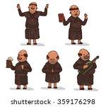 Vector Set Of Monks In Brown...