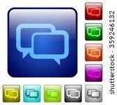 set of chat bubbles color glass ...