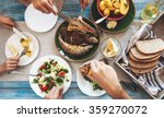 family dinner with fried fish ... | Shutterstock . vector #359270072