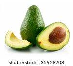 ripe sliced avocado isolated on ...   Shutterstock . vector #35928208