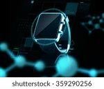 close up of black smart watch | Shutterstock . vector #359290256