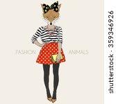 Fox Hipster Girl  Fashion...