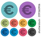 color euro sign flat icon set...
