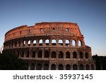 The remains of the mighty Colosseum in Rome, Italy. - stock photo