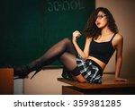 beautiful brunette student in... | Shutterstock . vector #359381285