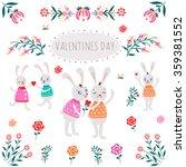 valentine's day   bunnies | Shutterstock .eps vector #359381552