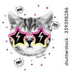Stock photo funny cat graphic for t shirt 359398286