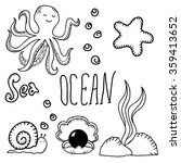 ocean bottom. hand drawn... | Shutterstock .eps vector #359413652