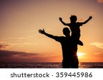 father and son playing on the... | Shutterstock . vector #359445986
