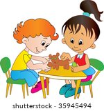small boy and               ... | Shutterstock .eps vector #35945494