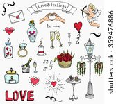 Hand drawn doodle Love and Feelings collection Vector illustration Sketchy Love icons Big set of icons for Valentine's day, Mothers day, wedding, love and romantic events Hearts hands Cupid Flowers