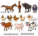 different kind of farm animals... | Shutterstock .eps vector #359534942