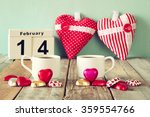 february 14th wooden vintage... | Shutterstock . vector #359554766