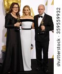 Small photo of Frances Hannon, Mark Coulier and Reese Witherspoon at the 87th Annual Academy Awards - Press Room held at the Loews Hollywood Hotel in Los Angeles, USA on February 22, 2015.
