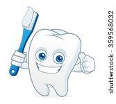 Tooth Cartoon Mascot Brushing...