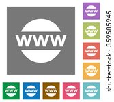 domain flat icon set on color...