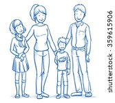 happy young family in casual... | Shutterstock .eps vector #359615906