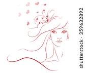 sketch of the girl's face. long ... | Shutterstock .eps vector #359632892