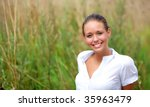 Beautiful natural girl outdoor a sunny day - stock photo