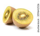 Small photo of Whole and cut golden kiwifruit/ kiwi (Actinidia chinensis) on white background