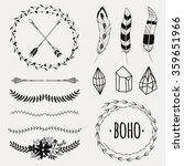 vector monochrome ethnic set... | Shutterstock .eps vector #359651966