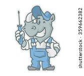 rhinoceros character holding... | Shutterstock .eps vector #359662382