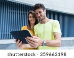young caucasian couple use of... | Shutterstock . vector #359663198