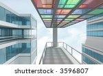 colorful architecture 3d render - stock photo