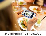 woman photographing food by... | Shutterstock . vector #359681036