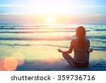 silhouette of woman at yoga... | Shutterstock . vector #359736716