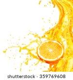 orange juice splashing with its ... | Shutterstock . vector #359769608