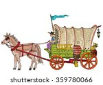 covered wagon   cartoon | Shutterstock .eps vector #359780066