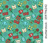 cute cartoon doodle pattern... | Shutterstock .eps vector #359796242